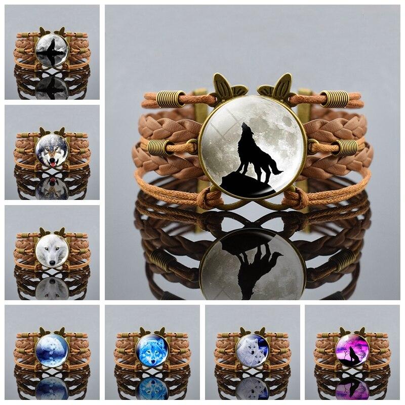 Retro Wolf Moon Bracelet Glass Cabochon Rope Charm Multilayer Braided Bracelet Wolf Head Jewelry For Men Women
