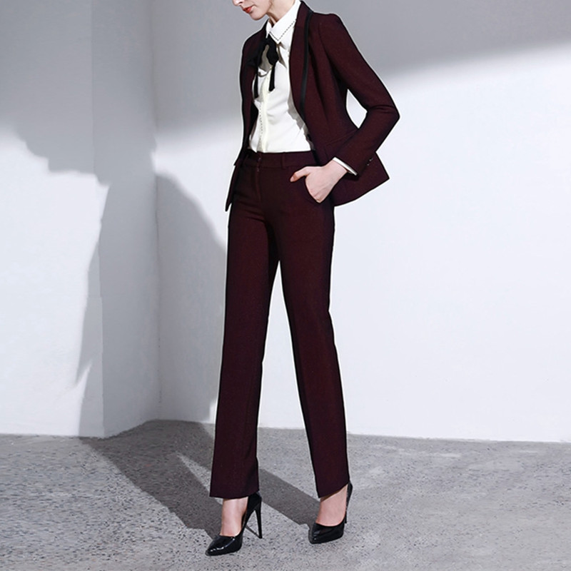 8.1 2,,98,Women`s suit burgundy slim ladies suit two-piece suit (jacket + pants) ladies work casual professional wear custom made