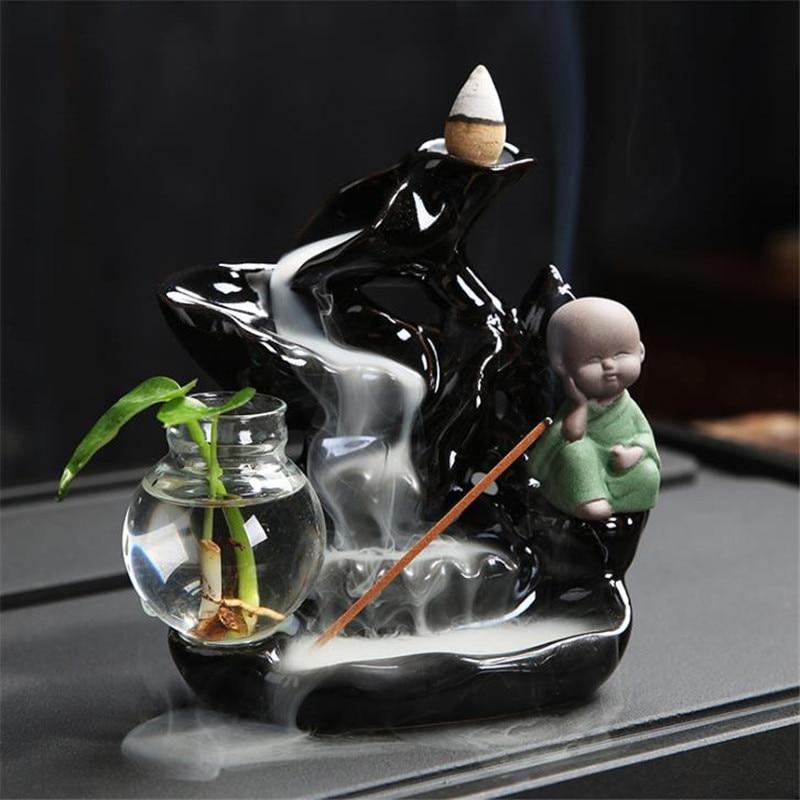 Креативная курильница для ароматерапии в виде маленького монаха, лотоса, горного водопада, маленькая зеленая ваза Будды с растениями, домаш...