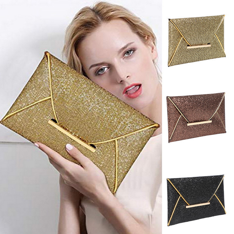 Dihope Women Evening Bag Pouch Sequins Envelope Black Handbag Sparkling Party Bag Solid Wedding Day Clutches Gold Purses 2020