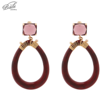 Badu Bohemian Big Acrylic Earrings Round Hoop Crystal Dangle Drop Earrings for Women Vintage Fashion Jewelry Wholesale badu 5 colors acrylic flower earrings for women big statement vintage dangle drop earrings wholesale