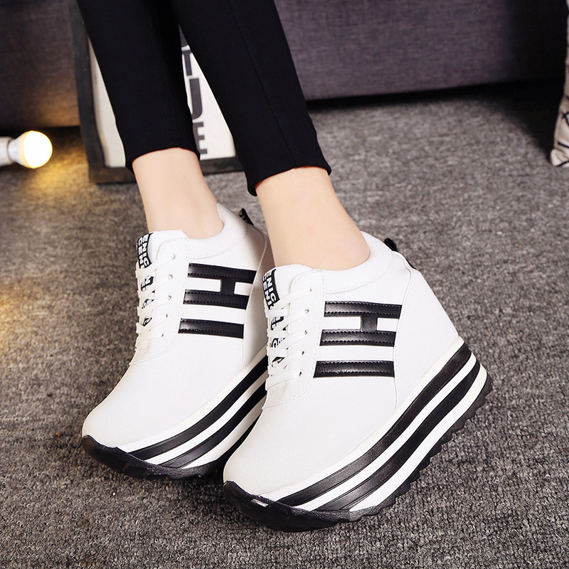 Wedge Platform Shoes Canvas Height Increasing Sneakers 2019 New Lace-Up Casual Woman Vulcanized Shoes Lady 9CM High Heel Sneaker