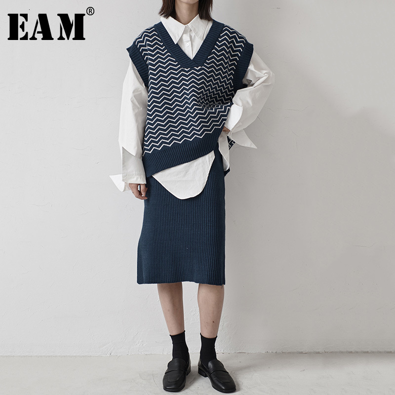 [EAM]  Half-body Skirt Knitting Two Pieces Suit New V-Neck Sleeveless Black Loose Women Fashion Tide Spring Autumn 2019 1H200