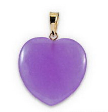 Jew2179 Purple Jade Love Heart 18KGP Pendant and Necklace(China)