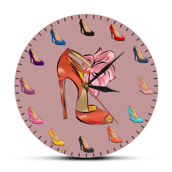 Different Colors Women Shoes Female Wall Clock High-heeled Shoes Tide Shop Fashion Art Decor Girl Room Wall Watch Shoemaker Gift image