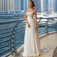 Simple Sheer Neck Wedding Dress with Appliques Vestido De Noiva White/Ivory Chiffon Beach Bridal Gown Plus Size