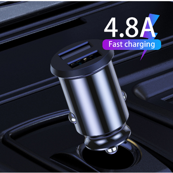 Ottwn USB Car Charger QC Fast Charging 4.8A Mobile Phone Dual USB Fast Charge For IPhone Samsung Xiaomi Huawei Mini Car Charging