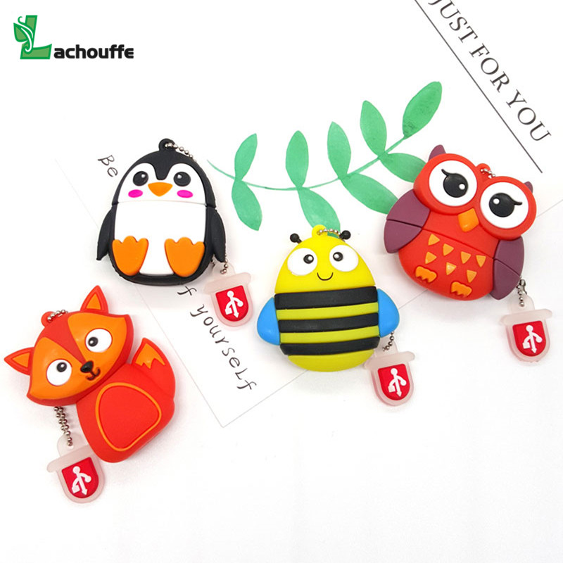 Memory Stick USB Flash Drive 128GB Pen Drive 8gb 16gb 32gb Owl/penguin/bee/fox Usb Stick Pendrive 64gb Flash Drive Usb Disk