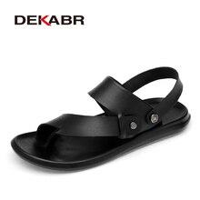 DEKABR klasik erkek sandalet rahat erkekler yaz rahat ayakkabılar bölünmüş deri büyük boy yumuşak Flip flop erkekler nefes terlik