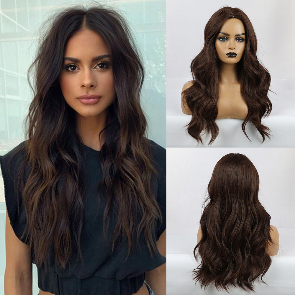 JONRENAU Party Wigs Trendy Dark Brown Hair Center Part Natural Wave Cosplay Hair Synthetic Lace Front Wigs For Women Makeup