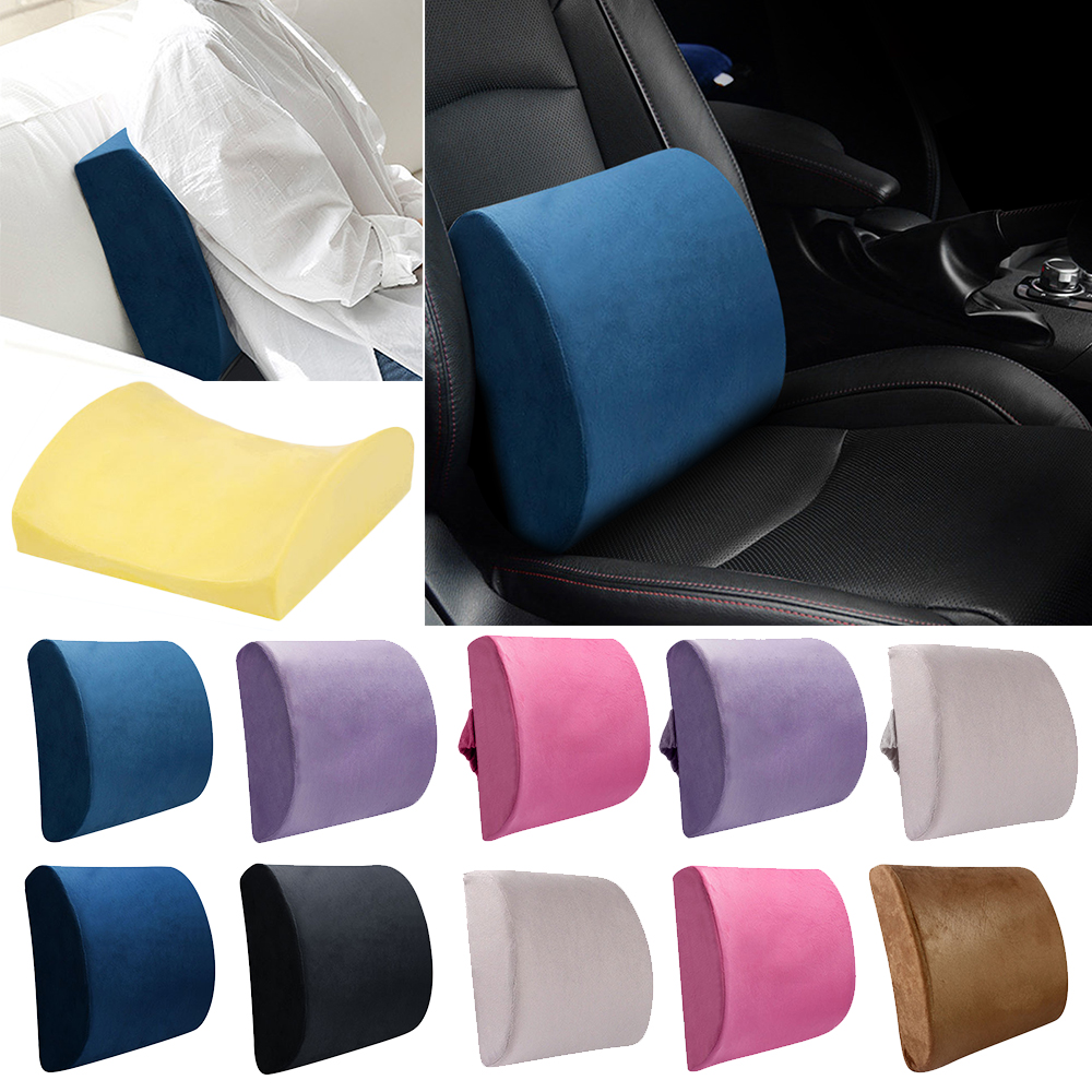 Multicolor Soft Memory Foam Lumbar Support Back Massager Waist Cushion Pillow in the Car Seat Pillows Home Office Relieve Pain