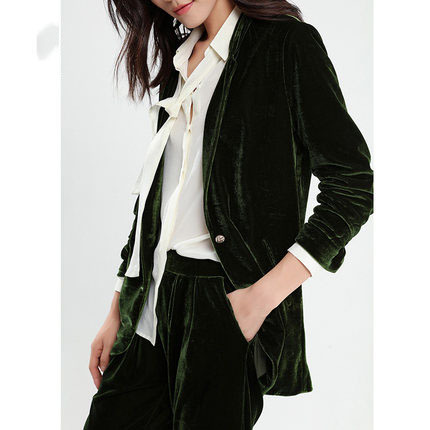 Spring Autumn Women Blazer Casual Long Gold Velvet Jacket One Button Suit Lady Blazers Work Wear Jaquetas Feminina LX35