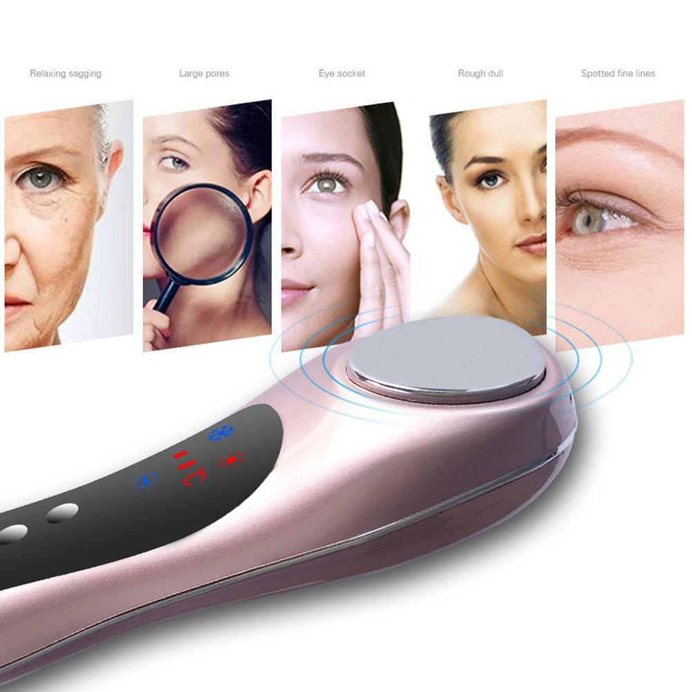 Hot & Cold Ultrasonic Deep Face Cleaning Machine Skin Scrubber Remove Blackhead Wrinkles And Spots Face Massager Lifting Tool