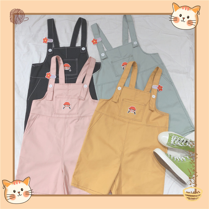 College Style Casual Overalls Shorts Cute Soft Sister Little Girl Patch Embroidery Loose 2020 Summer Multicolor Suspender Shorts