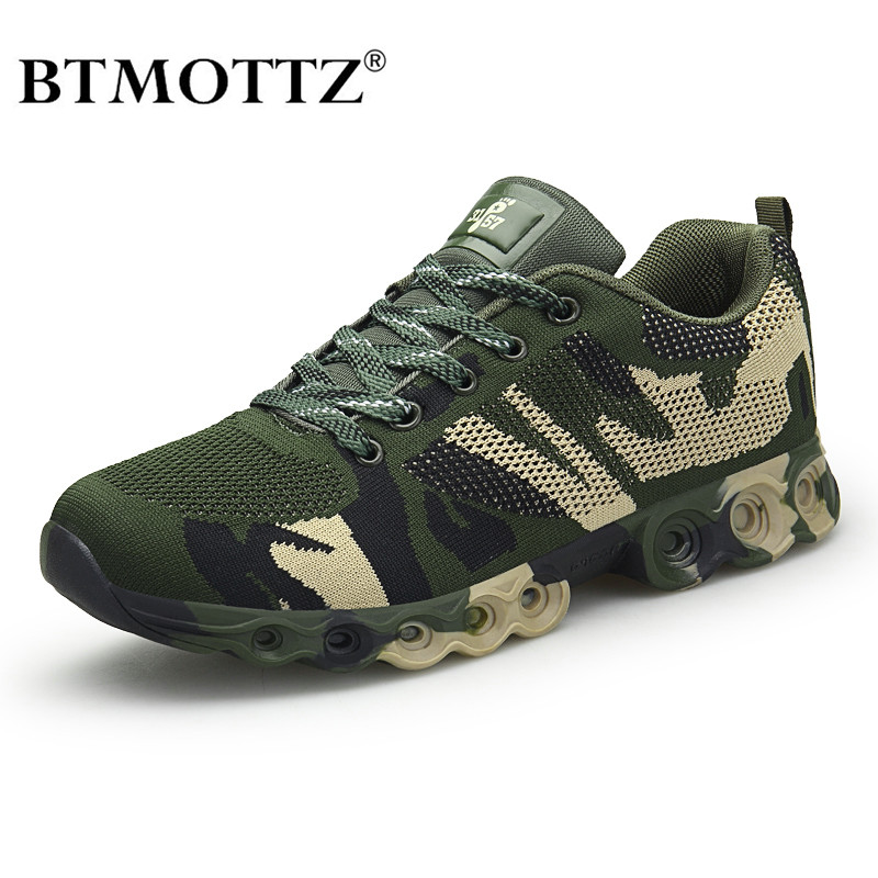 Men's Plus Size Outdoor Mesh Sneakers Military Work Casual Shoes Men Camouflage Army Breathable Walking Shoes Trainers BTMOTTZ