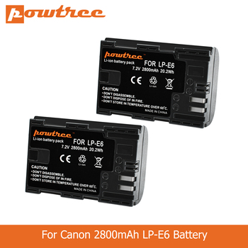 цена на POWTREE 2800mAh 7.2V LP-E6 LPE6 LP E6 Camera Battery For Canon 5D Mark II III 7D 60D EOS 80D 70D 6D for canon accessories L50