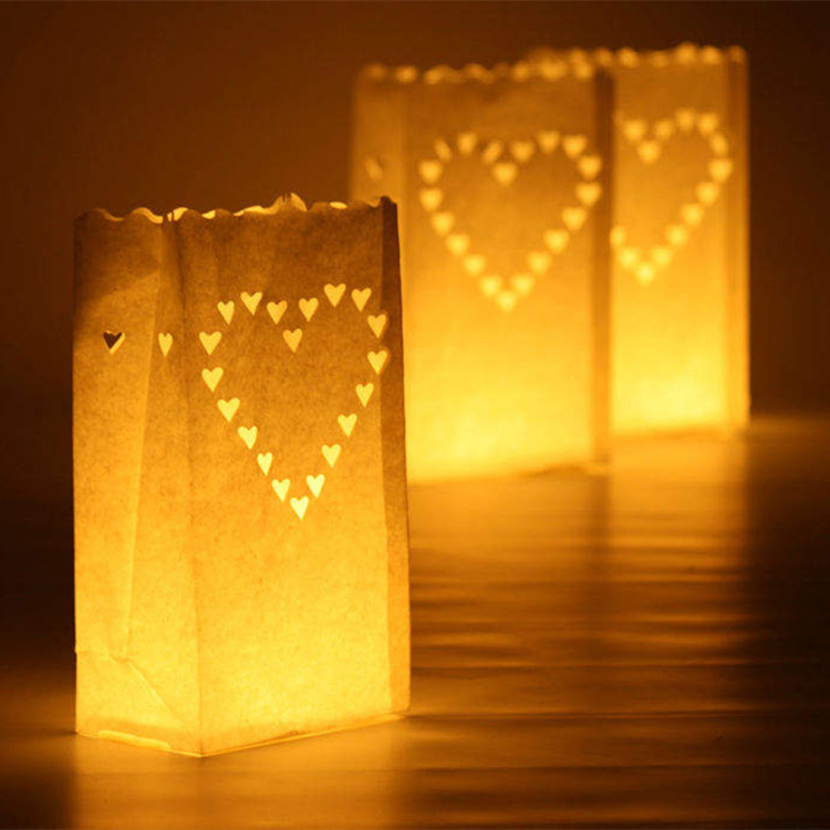 20 Pcs/lot Heart Shaped Tea Light Holder Luminaria Paper Lantern Candle Bag For Christmas Party Outdoor Wedding Decoration New