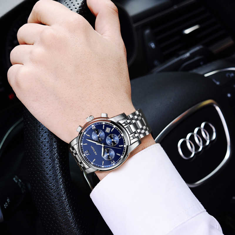 AESOP Man Sport Watch mężczyźni Sapphire męskie zegarki kwarcowe data stal nierdzewna męski zegar niebieski wodoodporny Relogio Masculino
