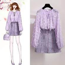 2020 New Summer Women Sets Female Tassel Chiffon Blouses + Short A Line Skirts Two Piece Set Girl Students Sweet Slim AE935(China)