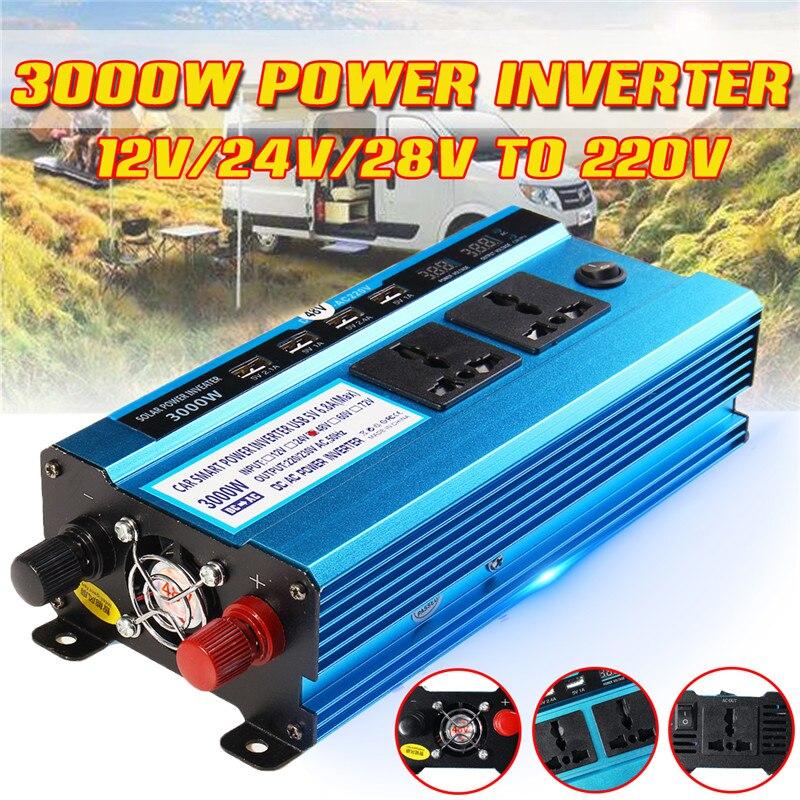 3000W onduleur cc 12V 24V 48V à ca 220V convertisseur de tension de puissance transformateur solaire onduleur Double affichage LCD 4USB