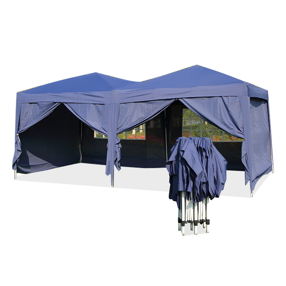 Large 6x3m WATERPROOF Pop Up Garden Gazebo Arbor Party Tent With Sides Window Bag Country Fair All Closed Tent