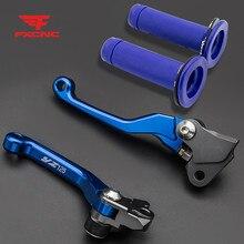 Para Yamaha YZ125 2001 2007 Motorbike CNC Alumínio Pivot Sujeira Pit Bicicleta Alavancas de Freio de Embreagem & Handle Grips Set