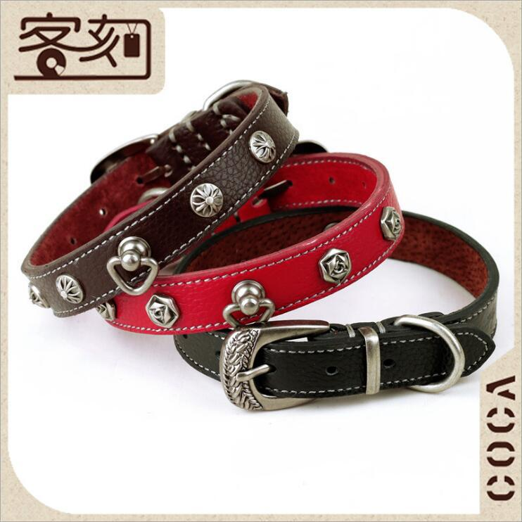 Pet Supplies Classical Style Dual Purpose Genuine Leather Neck Band Small Dogs Dog Neck Ring Full-grain Leather Rivet