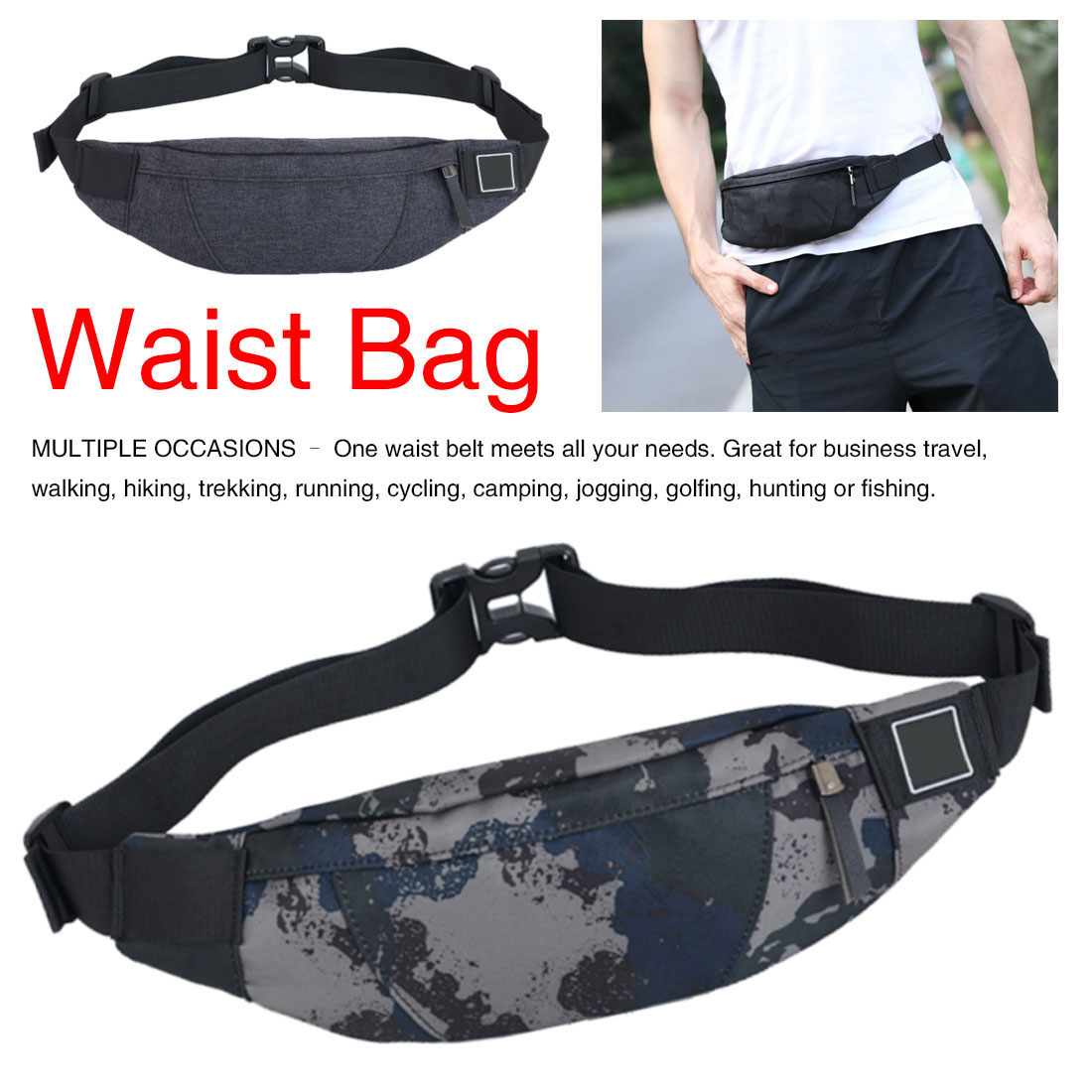 Wallet Belt Male Waist Bags  Black Waterproof Money Belt Bag Men Purse Teenager's Travel