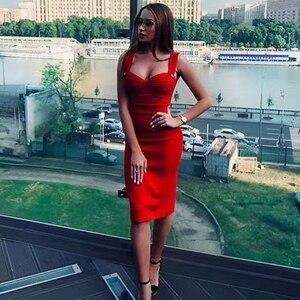 Image 5 - Adyce فستان نسائي صيفي جديد 2020 بلون أخضر بدون أكمام بحمالات رفيعة وحزام أحمر للمشاهير والحفلات المسائية