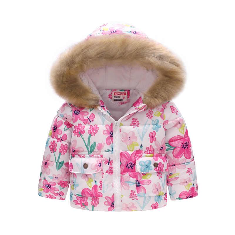 2019 חדש סתיו חורף בנות חם כותנה מעילים לילדים הדפסת בגדי ילדי מעיל ילדי ברדס הלבשה עליונה מעיל