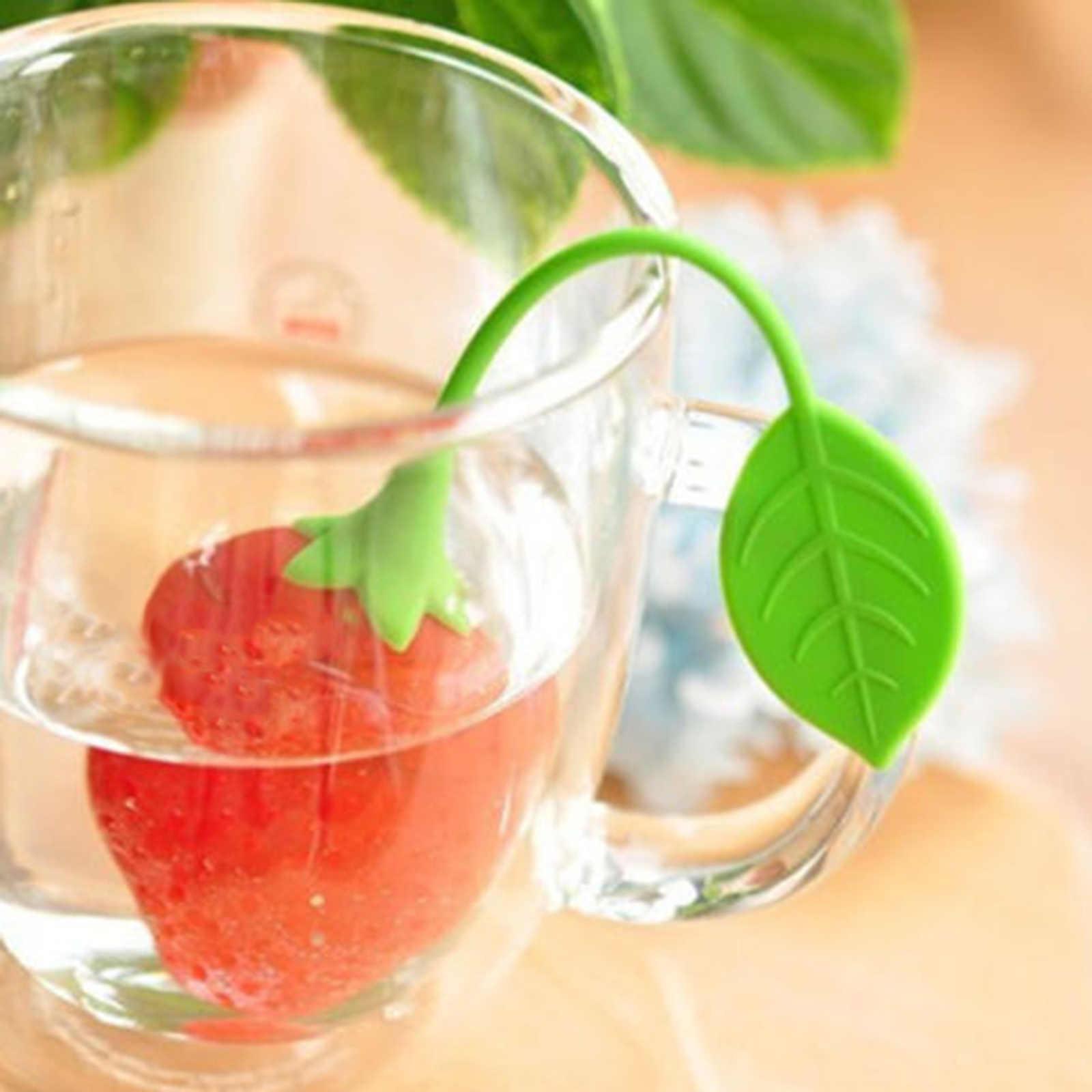 Silikon Gummi tee-ei Tee Sieb Erdbeere Zitrone Design Lose Tee Blatt Sieb Tasche Kräutergewürzfilter Filter Werkzeuge