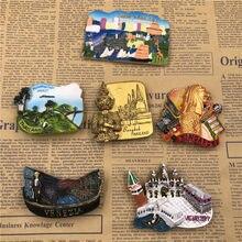 Imanes de nevera de resina de Tailandia, imán magnético panorámico para nevera, recuerdo de viaje, merlion de Singapur