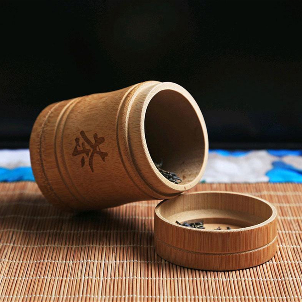 CUHAWUDBA Hecho una Mano Bamboo Tea Canister Spice Caddy Storage Box Organizer Bottle Tea Set Box-L