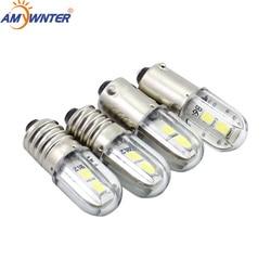 AMYWNTER E10 Ba9s led T4w H21W Car LED Indicator Light Bulb 6.3V/12V/24V/48V/1 60V 110V 230V 2835 W 4 SMD Atacado