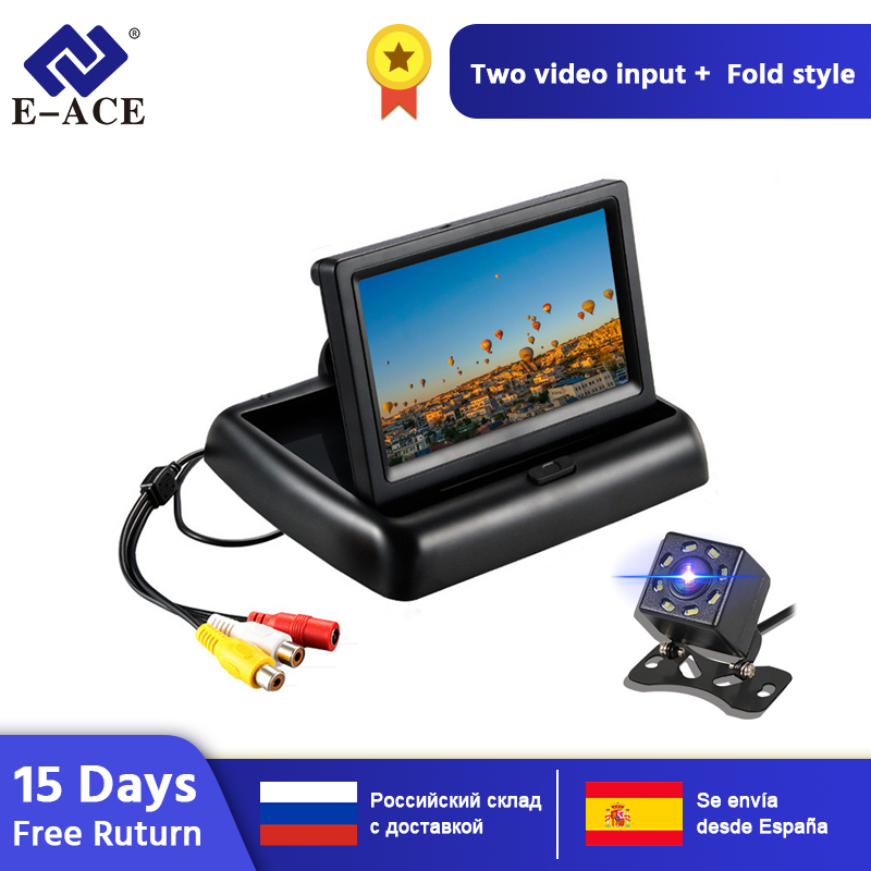 E ACE J02 Car Monitor 4.3 Inch TFT LCD Foldable Display Cameras NTSC PAL Reverse Camera Parking System for Car Rearview Monitors|Car Monitors| |  - title=