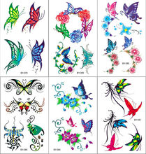 Waterproof Temporary Tattoo Sticker Colorful 3D Butterfly Fake Tatto Flash Tatoo Leg Arm Hand Foot Tatouage for Girl Women Lady(China)