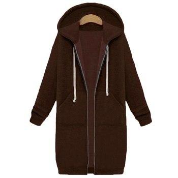 Spring 2020 Casual Hoodie Zipper Long Coat Sweatshirt Women Zip Up Loose Oversized Jacket Coat Women Hoodies Outwear Tops 15