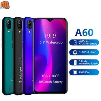 Перейти на Алиэкспресс и купить Blackview A60 3G смартфон 19:9 6,088 дюймAndroid мобильный телефон 4080 мАч аккумулятор 1 Гб 16 Гб ROM мобильный телефон 13 МП + 5 МП Две sim-карты