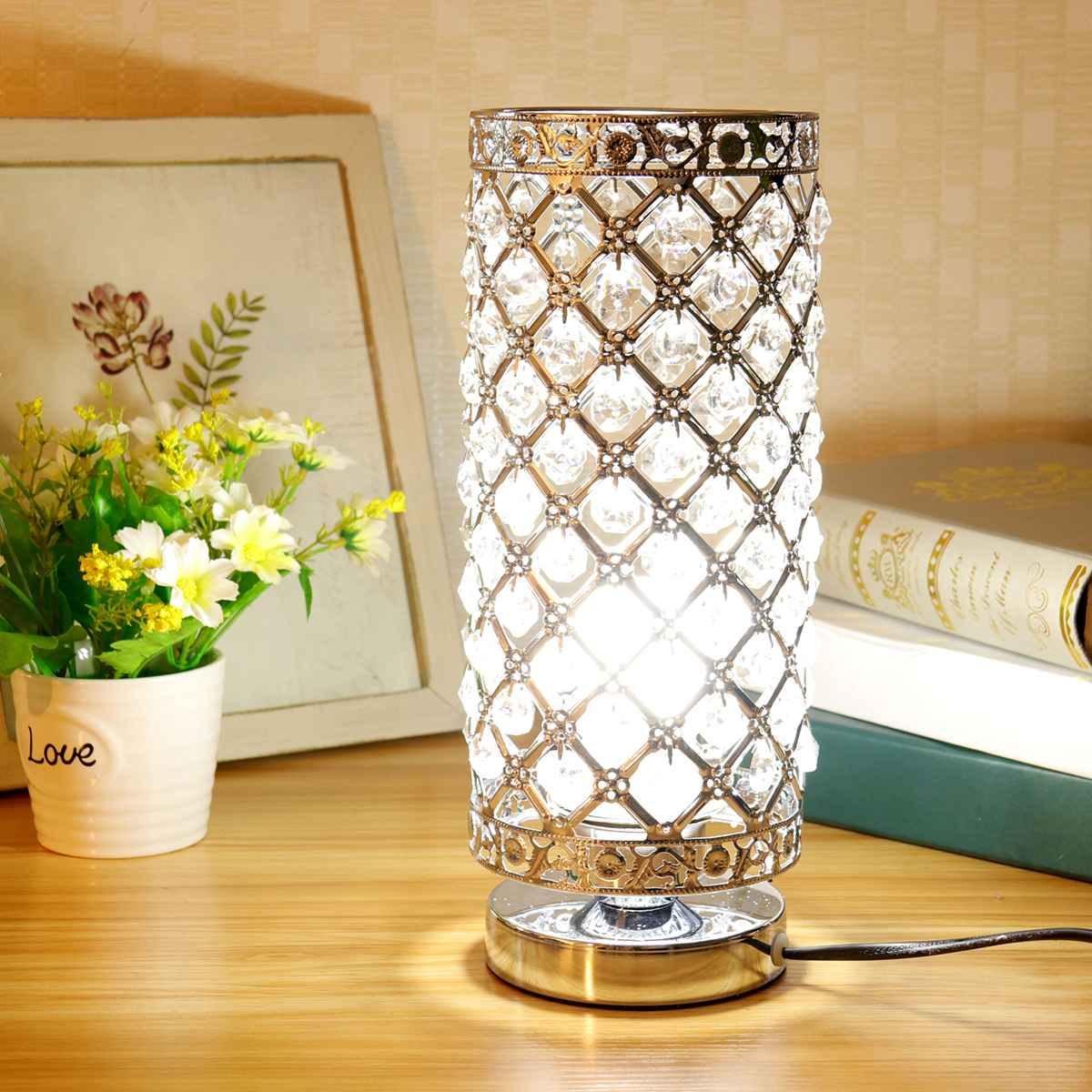 Modern kristal masa masa lamba ışığı başucu gece lambası E27 tutucu ev yatak odası dekorasyon ayarlanabilir iç mekan aydınlatması