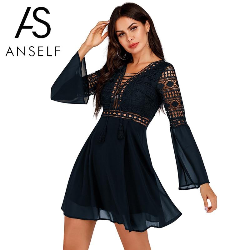 Anself Sexy Women's Dress V-Neck Hollow Out Long Sleeve Mini Chiffon Dress Elegant White Boho Woman Dresses Casual Lace Vestido 3