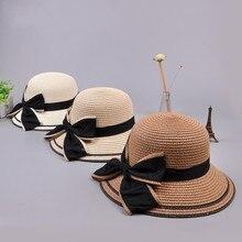 Cap Straw-Hats Travel-Caps Women Summer Sunshade Panama Foldable Fashion Bow