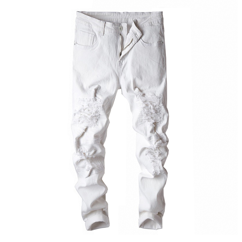 Sokotoo Men's White Denim Ripped Jeans Slim Skinny Holes Distressed Patchwork Stretch Pants