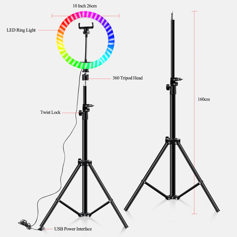 H4de84a478ee04a299fb6714514f12895e 10 Inch Rgb Video Light 16Colors Rgb Ring Lamp For Phone with Remote Camera Studio Large Light Led USB Ring 26cm for Youtuber