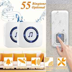Bell Chime Ringtone Music-Door 2-Receivers Waterproof Home-Security Wireless 110V 300M