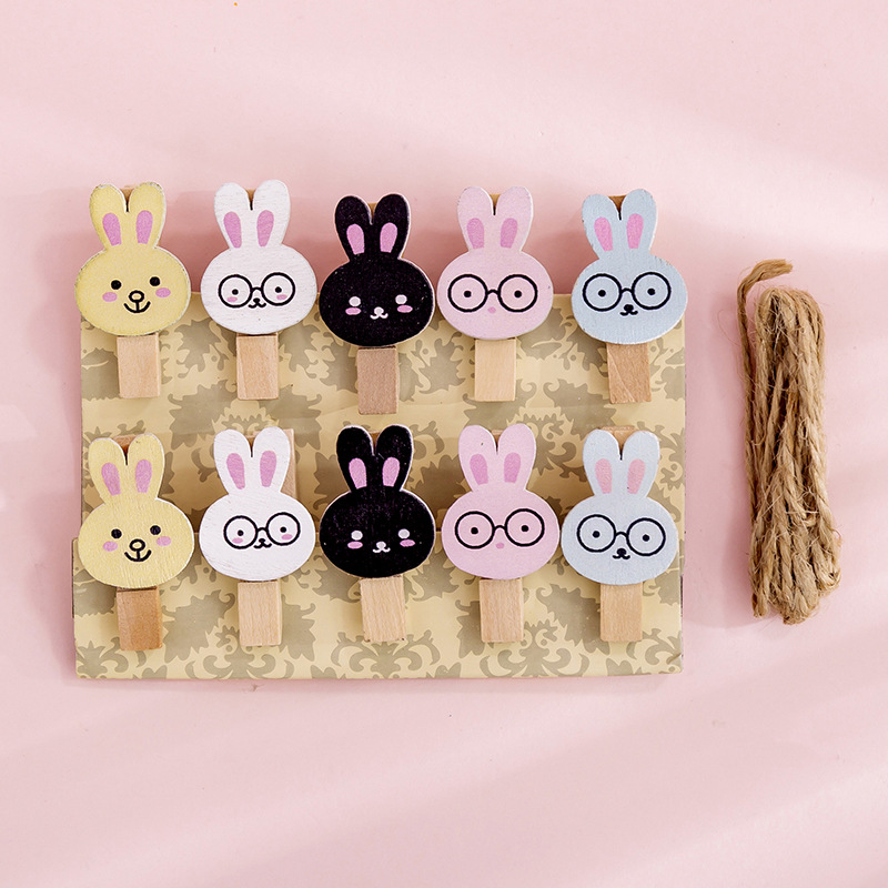 10 Pcs/pack Cute Rabbit Wooden Clip Photo Craft DIY Decoration Notes Letter Paper Clip With Hemp Rope Office School Supplies