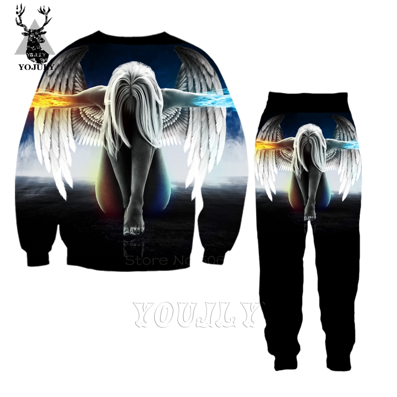 Hot Sale Cute Angel Wing T Shirt Fashion Men's Sets 3D Print Funny T-Shirts/hoodie/Sweatshirt Hip Hop O-neck Streetwear Tops S86