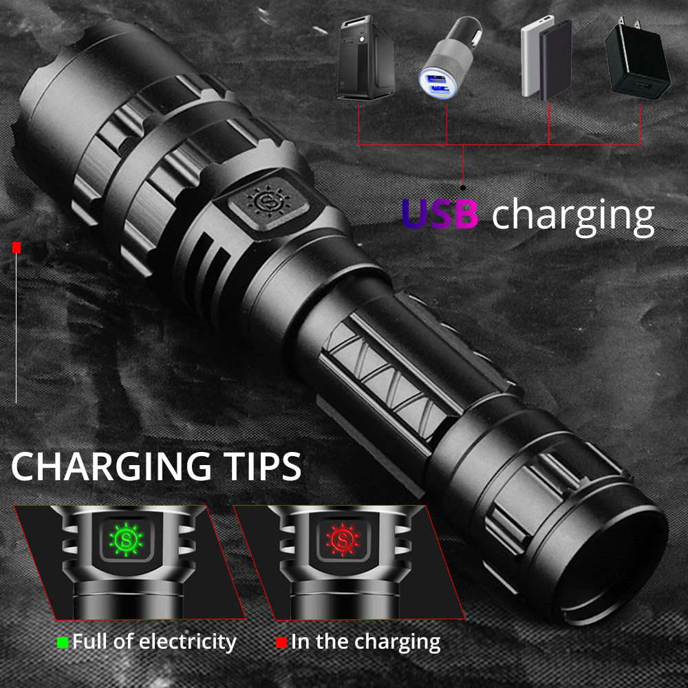 High Power XHP50.2 LED Flashlight Xlamp Aluminum Hunting L2 Waterproof Torch Light Powerful Lanterna Use 18650 26650 Battery