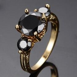 Vintage Vrouwelijke Zwarte Kristal Steen Sieraden Geel Goud Kleur Trouwringen Voor Vrouwen Grote Bruid Ronde Engagement Ring