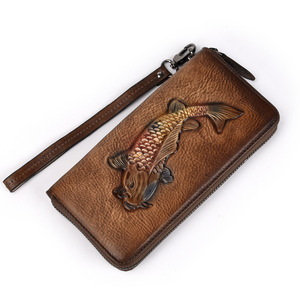 Image 2 - Genuine Leather Women Clutches Wallet Womens Cell Mobile Phone Pouch Bag Wristband Zipper Purse Golden Fish Engraved