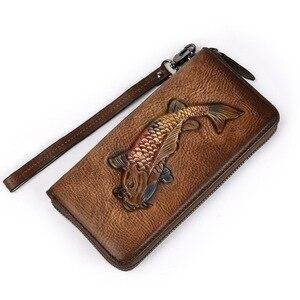Image 2 - Pochette da donna in vera pelle portafoglio da donna borsa per cellulare borsa da polso borsa con cerniera pesce dorato inciso